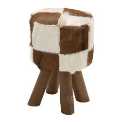 Cool Wood Round Brown Goat Foot Stool - Description: