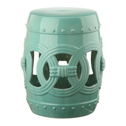 Safavieh - Malta Garden Stool - A decorating classic, this light blue Chinese garden stool lends a touch of Feng Shui serenity indoors or on the patio. Inspired by the Asian linked coin motif believed to bring good luck, the Double Coin stool is lustrous in high fired ceramic.