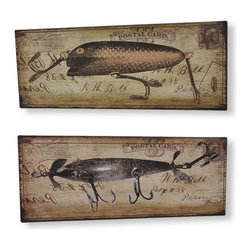 Zeckos - Pair of Shabby Chic Fishing Lure Postcard Metal Signs 5 In. x 12 In. - This pair of distressed finish fishing lure themed decorative plaques is a great addition to any country or cabin decor. Each plaque has a handwritten postcard background, with a depiction of an antique fishing lure in the foreground. Each plaque is made of metal, and measures 5 inches tall, 12 inches wide. They have a pair of nail holders on the backs, so they are easy to mount to any wall.