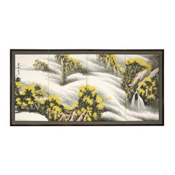 """Oriental Furniture - 36"""" Waterfall of Dreams - This Waterfall of Dreams motif is striking, with yellow treetops on shrouded mountain peaks, and a mystical waterfall dropping through the clouds. Note that no two renderings are exactly the same. Subtle, beautiful hand painted wall art."""