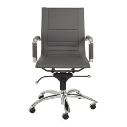 Euro Style - Owen Low Back Office Chair - Gray Leatherette/Chrome - A strong variety of practical colors are just the beginning. This low back office companion has 'multi-paneled' seat and back for extra comfort and durability. The Owen Low Back also has removable armrest sleeves giving you the option of more or less chrome.