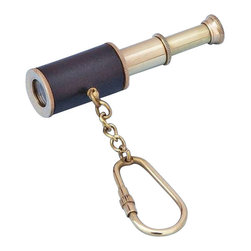 "Handcrafted Model Ships - Brass with Leather Spyglass Key Chain 4"" Marine Keychain Nautical Key chains - This nautical-themed key chain is both adorable and functional, featuring a brass bell key fob. Crafted from solid brass and wrapped in leather, this key chain is as beautiful as it is durable and functional. A knurled knob allows you to easily and securely add or remove keys from the ring. These wonderful key chains make ideal gifts for friends, family, employees, clients, co-workers, and especially yourself."