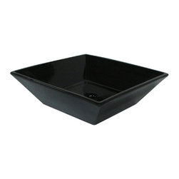 Kingston Brass - Black China Vessel Bathroom Sink without Overflow Hole - With its wide dishpan-like design, this black vessel sink is durable and lustrous with its fine vitreous china makeup. The wide outer shape complements the curved inlet design giving a subtle, transitional look compliant to any theme in your bathroom.