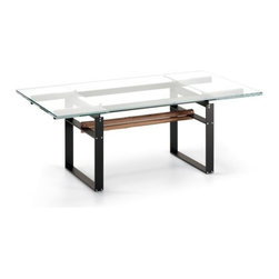 Cattelan Italia - Jerez Drive Extension Table   Cattelan Italia - Made in Italy by Cattelan Italia.The Jerez Drive Extension Table is a study in smooth profiles and architectural lineation. Adapting to changing dining room needs, this extendible table boasts glass leafs housed at either end which expand and collapse in a fluid sliding motion. The simple design of the table harmonizes seamlessly with modern and minimalist surroundings, and can reflect the best parts of your interiors without need for much ornamentation or embellishment. The 12 mm clear glass top sits on the steel base, which is accented and warmed up with a Canaletto Walnut wood center beam. The table's strong horizontal and vertical axis makes it a great anchoring table for any dining space. Product Features: Steel base and rails with embossed lacquered finish Central beam in Canaletto walnut Top and extensions in 12mm clear glass