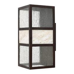 Hinkley Lighting - Hinkley Lighting 1455SB-GU24 Sierra 1 Light Outdoor Wall Lights in Spanish Bronz - Sierra's transitional style has an organic elegance with a natural stone centerpiece and panels of clear seedy glass. The solid aluminum construction in a Spanish Bronze finish completes its chic style.