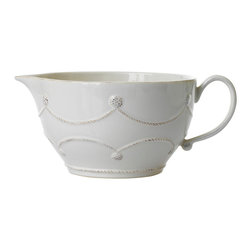 Berry and Thread Batter Bowl - Whitewash - The formal drama of a scalloped band becomes more approachable and just a touch playful with the Berry and Thread collection's country-chic interpretations of antique garland themes.  This designer Batter Bowl in Whitewash glaze is a splendid example of this designer stoneware line's aesthetic of downplayed, subtle luxury and eminent usefulness in the kitchen.