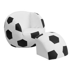 Flash Furniture - Flash Furniture Kids Soccer Chair and Footstool - Kids will now get to enjoy furniture designed specifically for their size! This sports inspired furniture will have your little one enjoying the game in their new favorite seat! This fun set features a chair and footstool. The footstool fits snug inside the chair for a clean appearance or for easy transporting. The vinyl upholstery ensures easy cleaning after accidents or for quick wipe offs.