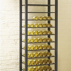 """TFG - Trio 84 Bottle Wine Rack - Features: -Ideal for the serious wine enthusiast and is a great value for the price.-This wine rack is the perfect compliment to any style.-The slatted shelves hold 84 total bottles.-Great design and great value.-1.5'' Square mild steel tube construction.-Powder coated black finish.-Rich color and subtle texture.-Trio collection.-Collection: Trio.-Distressed: No.-Product Type: Wine bottle rack.-Finish: Black.-Powder Coated Finish: Yes.-Material: 1.5"""" sq steel tube.-Scratch Resistant: No.-Tarnish Resistant: No.-Mount Type: No.-Wine Bottle Capacity: 84.-Shelves Included: Yes -Number of Exterior Shelves: 14.-Adjustable Shelves: No..-Lighted: No.-Plug-In: No.-Removable Serving Tray Included: No.-Ice Bucket Included: No.-Wine Glass Storage Included: No.-Glasses Included: No.-Adjustable Levelers: No.-Stackable: No.-Foldable: No.-Removable Bottle Racks: No.-Commercial Grade Welding: No.-Bottle Size Compatibility: 750 ml.-Weight Capacity: 300 lbs.-Outdoor Use: No.-Commercial Use: No.-Recycled Content: No.-Eco-Friendly: No.-Product Care: Wipe clean with a dry cloth.-Gloss Finish: No.-Solid Wood Construction: No.-Door Attachment Detail: No.-Refrigerated Cabinet: No.-Mirrored Back: No.Specifications: -Tall 84 bottle wine rack.-UL Listed: No.-cUL Listed: No.-ISTA 3A Certified: No.-ISO 9000 Certified: No.-ISO 14000 Certified: No.Dimensions: -Overall Product Weight: 94 lbs.-Overall Height - Top to Bottom: 73.5"""".-Overall Width - Side to Side: 23"""".-Overall Depth - Front to Back: 13.5"""".-Shelves: -Shelf Height - Top to Bottom: 4.375"""".-Shelf Width - Side to Side: 20"""".-Shelf Depth - Front to Back: 10.5""""..Assembly: -Assembly Required: Yes.-Tools Needed : Allen key.-Additional Parts Required : No.Warranty: -Product Warranty: 1 year limited warranty."""