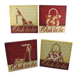 Zeckos - Set of 4 Shoe and Purse Printed Canvas Wall Hangings 10 x 10 In. - These cute coordinating canvases are a wonderful addition to the homes of fashion accessory addicts. They feature high heel peep toe stilettos with matching purses and 'Ooh la la' across the bottom. Each canvas is 10 inches tall, 10 inches wide, 3/4 of an inch thick, and mounts to the wall with a single nail or screw by the metal picture hanger on the back. This set is an adorable gift for a friend that is sure to be loved.