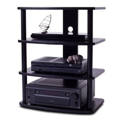 Plateau SF-4A TV Stand in Black - The Plateau SF-4A TV Stand in Black has a streamlined modern look and offers plenty of open shelved storage. This TV stand comes with four contoured and shaped oak shelves with a black finish. The welded frame is made of heavy gauge steel posts finished in a durable black baked on powder-coat finish. Each level features large cable management holes to keep cords and wires tucked out of sight. This TV stand was designed to hold the heaviest, most high-end electronic components and it accommodates up to a 27-inch flat panel TV.About Plateau CorporationPlateau Corporation utilizes the finest materials to provide you with state of the art audio and video home theater furniture systems. Entertainment centers created by Plateau Corporation are a fusion of innovative engineering and contemporary design. Their product list includes entertainment centers, media storage, TV armoires, and TV stands that are all are easy to assemble, incredibly durable, and specially made to highlight your audio/video system. Their unique entertainment centers can grow as your system grows.