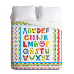 Andi Bird Alphabet Monsters Duvet Cover, Twin