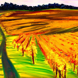 """Ann Rea - Bring home the Sonoma Coast with """"Dusk Over Vines"""" by Ann Rea, oil painting - """"When I painted 'Dusk over Vines' I was losing light really quickly. The shadows where lengthening and the coastal dusk was creeping over the hillside."""" -Ann Rea"""