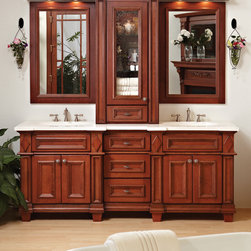 Bertch Bathroom Cabinetry - Bertch Furniture Series Madison Bathroom Vanity. Featured in Cherry Wood in Ginger Color Finish with Blizzard Vanity Top.