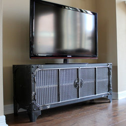 """Modern Industrial Furniuture - All steel industrial style media console / tv stand / cabinet. 52"""" W x 18"""" H x 15"""" D. Small enough for a tight space but unique enough to stand out in a large room. Raw steel clear coat finish."""