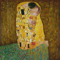 overstockArt.com - Klimt - The Kiss (Full view) Oil Painting - An amazing Reproduction of Klimt's the Kiss in its original square format! Hand painted oil reproduction of a famous Klimt painting, The Kiss Full view. The original masterpiece was created in 1907-08. Today it has been carefully recreated detail-by-detail, color-by-color to near perfection. Gustav Klimt, the Vienna master painted the Kiss oil painting in 1907. The painting depicts a couple surrounded by a gold blanket and ornaments sharing a moment of shear passion - the perfect kiss. In the oil and gold masterpiece, the man appears standing as he holds in his arms the kneeling woman. The two seem to be positioned on a flower field, kissing, totally engaged with one another. The woman seems to be following the lead of her partner, but is not taking an active part. The patterns of the man are mostly black and white rectangles, while the woman is engulfed in flowers. The identity of the people depicted in this oil painting is not exactly clear; some suggest that it is Klimt himself and his beloved partner, Emilie Floge. However, that is sheer speculation as Klimt made it a point never to paint himself. Gustav Klimt (1862-1918) was one of the most innovative and controversial artists of the early twentieth century. Influenced by European avant-garde movements represented in the annual Secession exhibitions, Klimt's mature style combines richly decorative surface patterning with complex symbolism and allegory, often with overtly erotic content. This work of art has the same emotions and beauty as the original. Why not grace your home with this reproduced masterpiece? It is sure to bring many admirers!