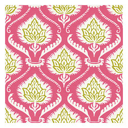 Pink Artichoke Cotton Sateen Fabric - Preppy modern print of pink & green artichokes and damask-like scrolls.Recover your chair. Upholster a wall. Create a framed piece of art. Sew your own home accent. Whatever your decorating project, Loom's gorgeous, designer fabrics by the yard are up to the challenge!