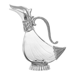 Brilliant - Brilliant - Duck Decanter with Silver Plated Base and Handle - This elegantly tall glass duck decanter is stylish, functional and perfect for decanting white wine or champagne. Bring it out at special dinners for more impact.
