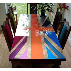 Union Jack Dining Table - I love this colorful take on the Union Jack. The brights completely transform what could be seen as a dusty icon into a vibrant graphic treatment.