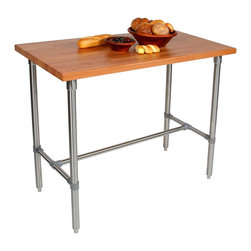 John Boos - John Boos Cucina Classico Cherry & Stainless Steel Table - John Boos Cucina Classico work table. Blended-grain 1-1/2-inch cherry top on a stainless steel base. 48 in. long in 24 and 30-in. widths. 36 & 40-in. heights.