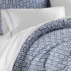Jonathan Adler Blue Syrie Duvet Cover - This crisp duvet cover, in blues and whites, will add a bit of exotic style to your bedscape, while keeping it restful.