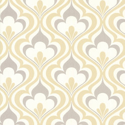 Brewster - 2535-20601 Lola Ogee Bargello Damask Trellis Wallpaper - Oh so mod, this geometric wall paper featuring a grey and yellow ogee design with a chic modern twist, brings a fashionable fusion of retro and contemporary detail to walls.