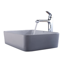 Kraus - Kraus White Rectangular Ceramic Sink and Decorum Faucet Chrome - *Add a touch of elegance to your bathroom with a ceramic sink combo from Kraus