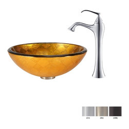 Kraus - Kraus Orion Glass Vessel Sink and Ventus Faucet Chrome - *Add a touch of elegance to your bathroom with a glass sink combo from Kraus