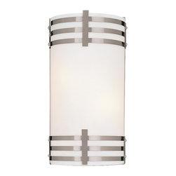 Minka Lavery - Minka Lavery 344-84-PL Brushed Nickel 2 Light Wall Sconce - Etched Opal Glass Shade
