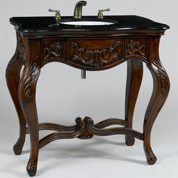 AA Importing - Queen Anne Inspired Carved Wooden Vanity with - With a curvy serpentine shaped top and graceful cabriole legs, this lovely Queen Anne style bathroom vanity is a fine example of simply stated elegance.  The rich dark wood base is enhanced with intricate leaf carvings, and the decorative fluted scroll stretchers also give the cabinet added strength and stability.  It features a stunning black marble top and genuine porcelain sink basin complete with antique finish fixtures. The compact design makes this handsome single vanity ideal for the bath or powder room with limited space. Faucets and Drain Assemblies NOT included. Carved wood. Open bottom and sleek, uncluttered top. Array of foliage motifs are carved around the base and along the graceful cabriole legs. Porcelain basin sunk. Black marble top. Antique Gold tone finish fixtures. 37 in. L x 20.5 in. W x 36 in. H (118 lbs.)The dark finish over this carved wood sink is rich and warm, while the open bottom and sleek, uncluttered top keep this sink from bringing an overwhelming presence to your bathroom. Grooved stretchers arch to scrolled knuckle ends meet in the center underneath the base and help support the weight of a porcelain basin sunk into the black marble top.