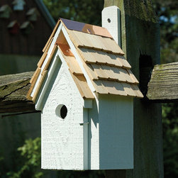 Bluebird Manor Bird House - This inviting Bluebird haven features a stone-washed shingled roof, solid copper trim and a hinged front door for easy access, viewing and cleaning.