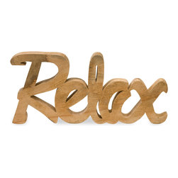 Relax Mango Wood Decor - The Relax decor, carved from mango wood adds a natural element to rooms and retail displays. Finished in a honey tone wood grain, this piece is a fresh take on the hot typographic trend.