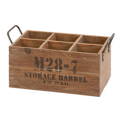 None - Natural Stamped Wooden Wine Crate - Resembling the wooden baskets of ancient days, this wine crate will complement your traditional or rustic style in an eye-catching way. Natural seasoned wood with stamped letters highlight this decorative piece.