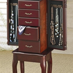 Coaster - Jewelry Armoire in Cherry Finish - Traditional queen anne style. Five storage drawers. Two side doors reveal felt lined storage with hooks. Felt lined top compartment with flip top mirror. Cabriole legs. Decorative carved posts. Interior hooks provides convenient hanging space for necklaces, lockets and chains. Minimal assembly required. 13 in. W x 9 in. D x 35 in. H. WarrantyAdd classic styling to store jewelry in your bedroom with this Queen Anne style jewelry armoire.