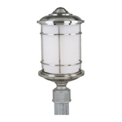 Feiss - Feiss Lighthouse 1-Light Brushed Steel Opal Etched Glass Post Light - OL2207BS - This 1-Light Post Light is part of the Lighthouse Collection and has a Brushed Steel Finish and Opal Etched Glass. It is Outdoor Capable.