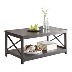 Convenience Concepts - Convenience Concepts Accent Table X-280302 - The Oxford Coffee Table by Convenience Concepts is a great addition to any home. In a rich glossy black finish it's sure to complement any home d&#233:cor. Featuring a bottom shelf that provides plenty of space to display collectibles or every day necessities with ease of access. Coordinating pieces are also available, sold seperately.