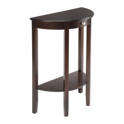 """Wildon Home � - Bay Shore Half Moon Console Table - The Bay Shore half moon / round hall table is perfect for entry ways or hallways which need a place to say hello! A great spot to put the keys, the mail or a beautiful potted plant! This table will last for years and with proper care look as good as new long after you get it home! Features: -Great spot to put the keys, the mail or a beautiful potted plant.-Lower shelf is great for decorating.-Perfect for entry ways or hallways.-Drawer front details; not a functioning drawer.-Made from Eco-friendly China maple, a renewable resource.-Bay Shore collection.-Collection: Bay Shore.-Distressed: No.-Top Material: China Maple.-Base Material: China Maple.-Lift Top: No.-Storage Under Table Top: No.-Adjustable Height: No.-Glass Component: No.-Nested Stools Included: No.-Legs Included: Yes -Number of Legs: 4..-Magazine Rack: No.-Casters: No.-Exterior Shelves: Yes -Adjustable Exterior Shelves: No..-Cabinets Included: No.-Outdoor Use: No.-Eco-Friendly: Yes.Dimensions: -Overall Height - Top to Bottom: 32.5"""".-Overall Width - Side to Side: 23.5"""".-Overall Depth - Front to Back: 11.7"""".-Shelving: -Shelf Width - Side to Side: 23"""".-Shelf Depth - Front to Back: 11""""..-Legs: Yes.-Overall Product Weight: 21 lbs.Assembly: -Assembly Required: Yes.Warranty: -Product Warranty: 90 Day Limited Manufacturer."""