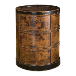 Uttermost - Lawton Storage Drum Table - If plantation-grown mango wood finished by hand in dark cinnamon with black rubbed edges isn't enough to whet your appetite, consider the storage possibilities! This storage drum table with hinged door and two adjustable shelves is cool and practical.