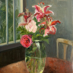"""Birthday Flowers, Original, Painting - Perhaps handpicked from a garden, this, variations on pink and red arrangement on a kitchen table, is simple and lovely. An original oil painting by Inna Lazarev, this birthday bouquet says """"I love you."""""""