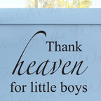 Decals for the Wall - Wall Quote Decal Sticker Vinyl Art Thank Heaven for Little Boys Girl's Room K74 - This decal says ''Thank heaven for little boys''