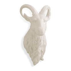 Kathy Kuo Home - Modern Rustic Medium Ram White Porcelain Trophy Head - Pursue the art of the unexpected. Crafted from white porcelain with two distinct curved horns, the ram trophy head is the just the souvenir your mantle is missing. Game on.
