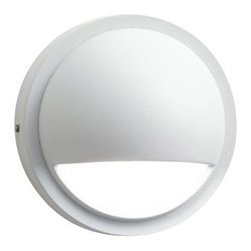 LANDSCAPE - LANDSCAPE Half Moon Outdoor Deck Light X-THW46051 - A half moon opening directs light downward for an elegant, decorative touch on any outdoor deck light. This Kichler Lighting outdoor deck light comes in a crisp Textured White finish that accentuates the contemporary shape.