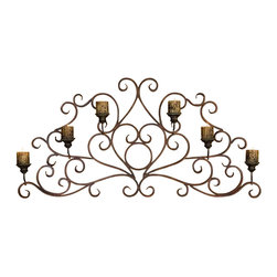 Uttermost - Billy Moon Juliana Decorative Wall Sconce - Designer: Billy Moon. Distressed antiqued candles included. Made of Metal. 58 in. W x 4 in. D x 28 in. HThis decorative wall sconce is made of hand forged metal finished in a combination of dark red rust and olive bronze.