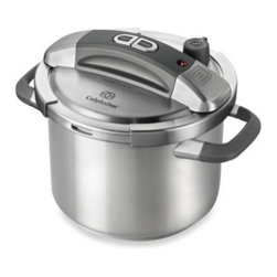 Calphalon - Calphalon 6-Quart Stainless Steel Pressure Cooker - With its one-button locking system, uniquely designed lid and intuitive pressure regulating controls, this pressure cooker is exceptionally easy to use and ideal for weeknight cooking because it can reduce cooking times by 50% or more.