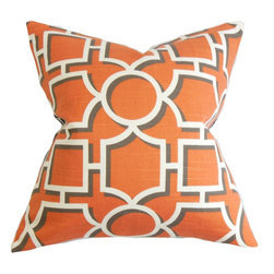 "The Pillow Collection - Ono Geometric Pillow Orange 18"" x 18"" - Complete your styling needs with this contemporary pillow. This accent pillow features a geometric pattern in white/gray and printed on an orange background. This throw pillow evokes a sense of comfort with its cushy material. Adding this toss pillow on your living room or bedroom is the simplest way to reinvent your decor style. Made with 100% plush and durable cotton fabric. Hidden zipper closure for easy cover removal.  Knife edge finish on all four sides.  Reversible pillow with the same fabric on the back side.  Spot cleaning suggested."