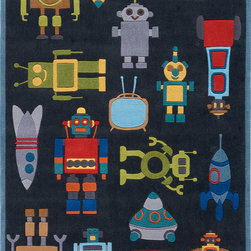 Momeni - Momeni 'Lil Mo Robots' Steel Rug - A playful space-themed robot pattern embellishes this cute Momeni rug. Hand-tufted of soft mod-acrylic, this rug features hand-carving for added texture and a vibrant color palette to make it as fun as it is unique.