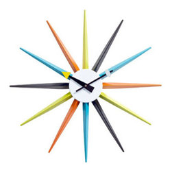 "LexMod - Sunburst Wall Clock in White Black Yellow Blue Green Orange - Sunburst Wall Clock in White Black Yellow Blue Green Orange - Travel on timeless rays of light with this classic from the 1950s. Relive the modernist's passage from conformity to expression with Sunburst's twelve multi-colored metal shafts. Every era has its future built into it. Synergize your ambitions with lessons of free spirit and inspiration from the previous generation. Set Includes: One - Sunburst Clock High Quality Reproduction, Lacquered Metal, Quartz Analog, Uses AA battery (Sold Separately) Overall Product Dimensions: 2""L x 22""W x 22""H - Mid Century Modern Furniture."