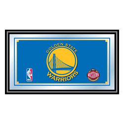 Trademark Global - Golden State Warriors NBA Framed Logo Mirror - Officially Licensed Full Color Artwork. Mirrored Glass Accents Team Logo. 1.25 Inch Black Wrapped Wood Frame. Includes Mounted Saw Tooth Hanger. Measures .75 (D) x 27 (W) x 15 (H) InchesReflect on the memories of your favorite team with this officially licensed framed logo mirror. Authentic artwork is preserved under mirrored glass then bound by a black wrapped wood frame.  Post up your passion for the game while assisting your room's appearance with this professional grade logo mirror.