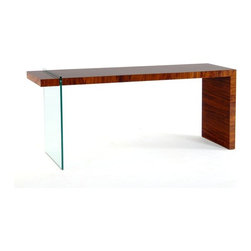 """Spin Console - Sometimes asymmetry really throws me off my game, but this fabulous table is making me change my mind. The glass side leg makes it look like the wood """"L"""" of the top and other side are defying gravity, and that's always a bit of fun!"""