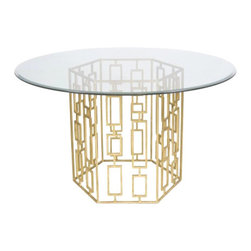 "Worlds Away Jackson Round Dining Table, Gold, 48"" - Jackson gold leaf round dining table with 48"" glass."