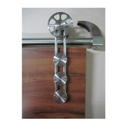 Barn door hardware for wood doors - This wheel open stem design is made of high-grade Italian stainless steel and is an attractive addition to wooden barn door designs.